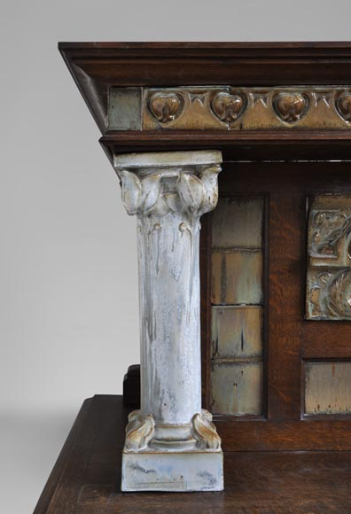 Rare Art Nouveau fireplace attributed to Charles Gréber with squirrels decor-2