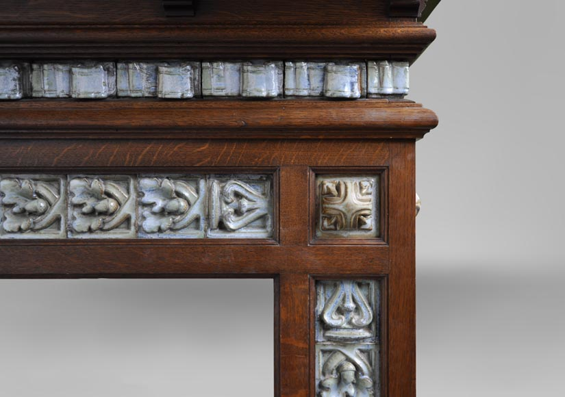 Rare Art Nouveau fireplace attributed to Charles Gréber with squirrels decor-7