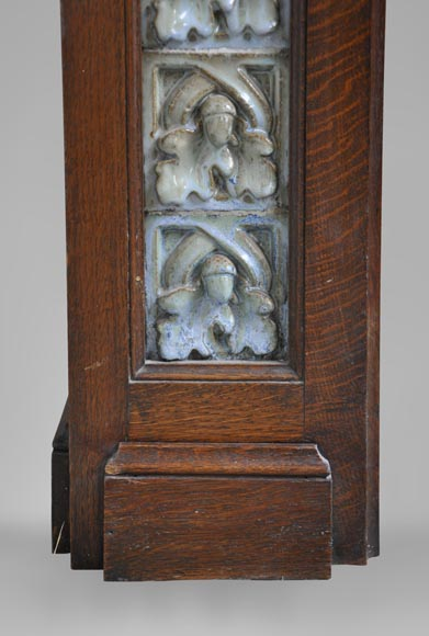 Rare Art Nouveau fireplace attributed to Charles Gréber with squirrels decor-9