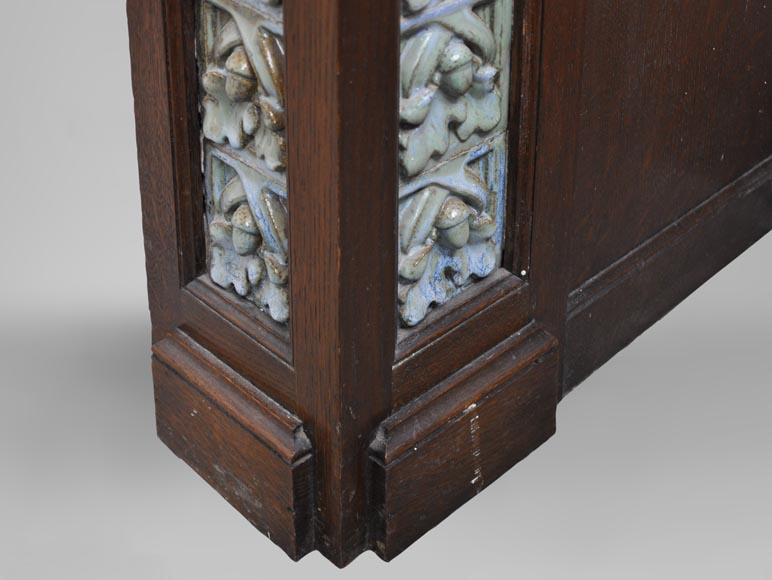 Rare Art Nouveau fireplace attributed to Charles Gréber with squirrels decor-10