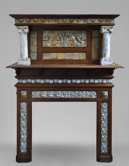 Rare Art Nouveau fireplace attributed to Charles Gréber with squirrels decor - Reference 2901