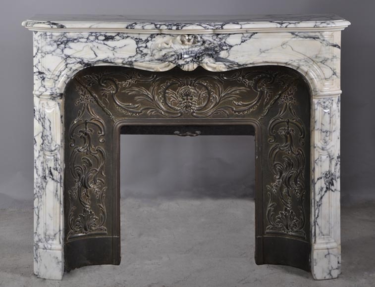 Antique Louis XV style fireplace in panazeau marble with its original brass inside - Reference 2905