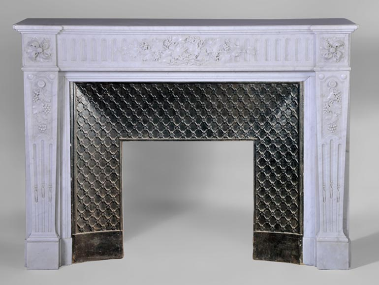 Rare antique Louis XVI style fireplace with vines and grapes decor, Carrara marble - Reference 2906