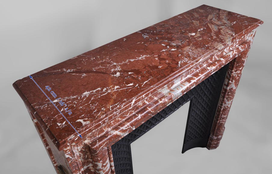 Antique Louis Xiv Style Fireplace In Red From Languedoc