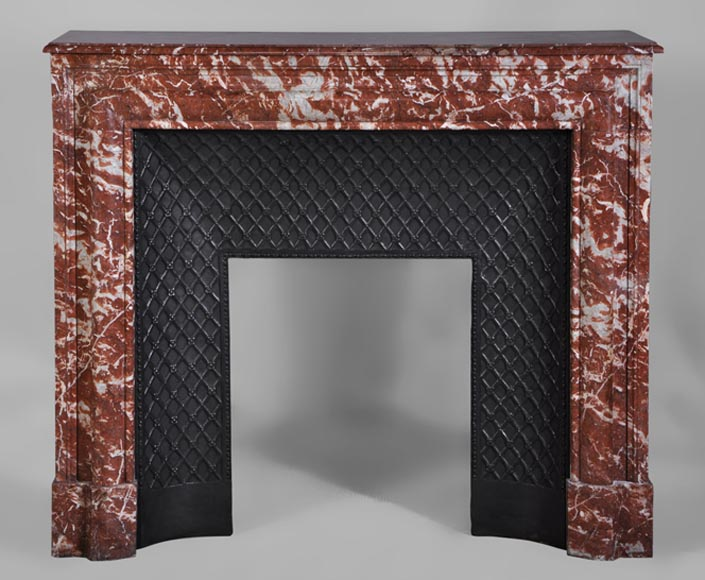 Antique Louis XIV style fireplace in Red from Languedoc marble-0