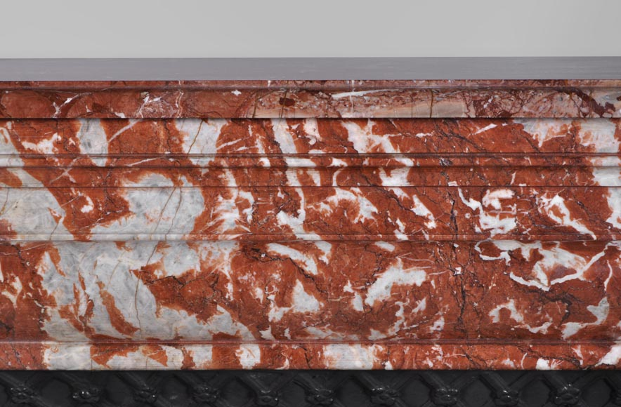 Antique Louis XIV style fireplace in Red from Languedoc marble-1