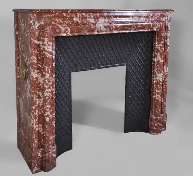 Antique Louis XIV style fireplace in Red from Languedoc marble-2