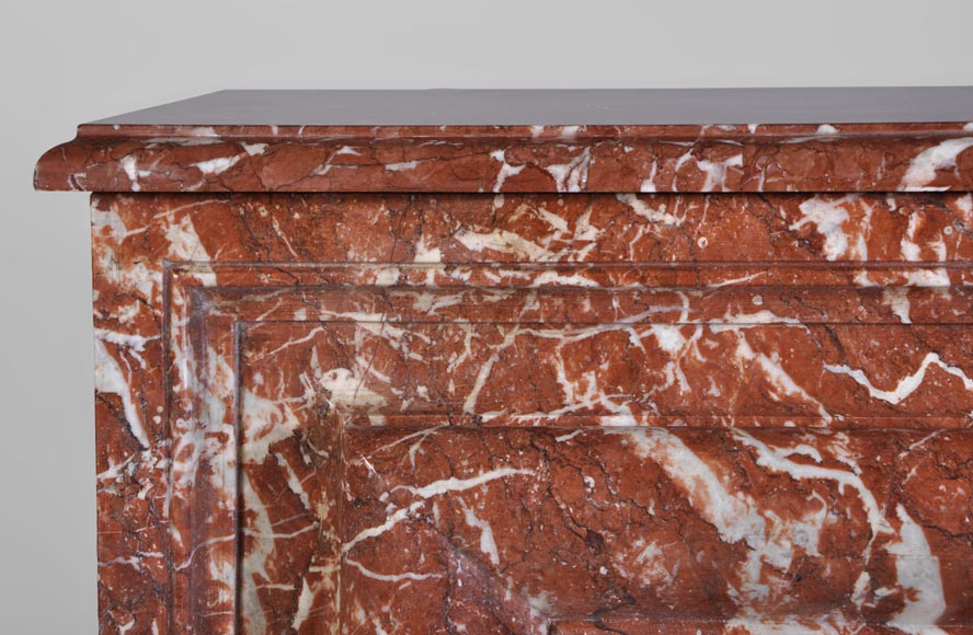 Antique Louis XIV style fireplace in Red from Languedoc marble-3