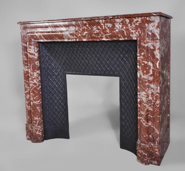 Antique Louis XIV style fireplace in Red from Languedoc marble-5