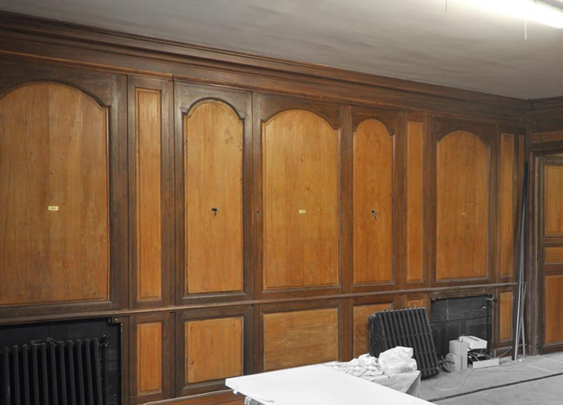 18th century oak and fir wood paneled room-0
