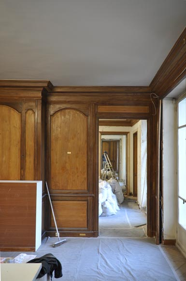 18th century oak and fir wood paneled room-2