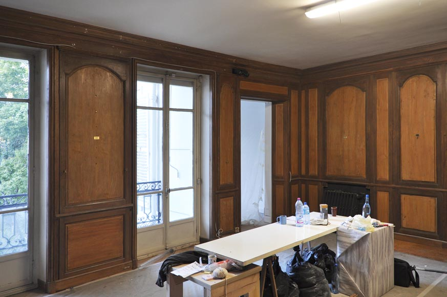 18th century oak and fir wood paneled room-5