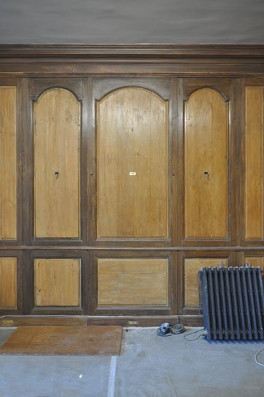 18th century oak and fir wood paneled room-6
