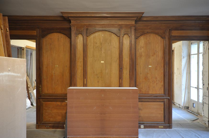 18th century oak and fir wood paneled room-8