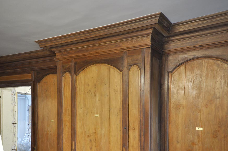 18th century oak and fir wood paneled room-9