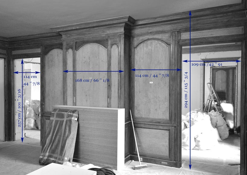 18th century oak and fir wood paneled room-13