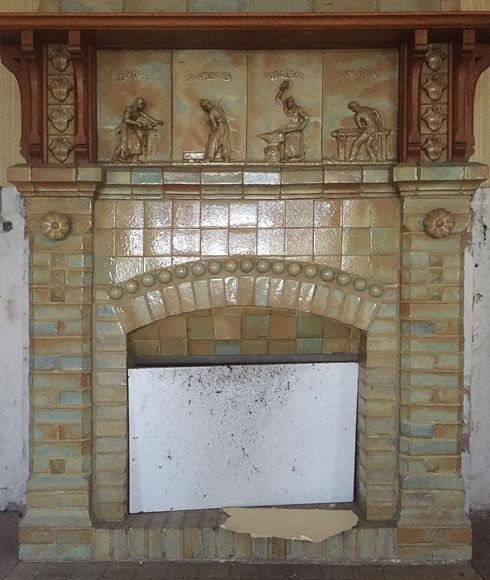 Beautiful antique Art Nouveau fireplace by Charles Gréber with workers' decorative frieze-2