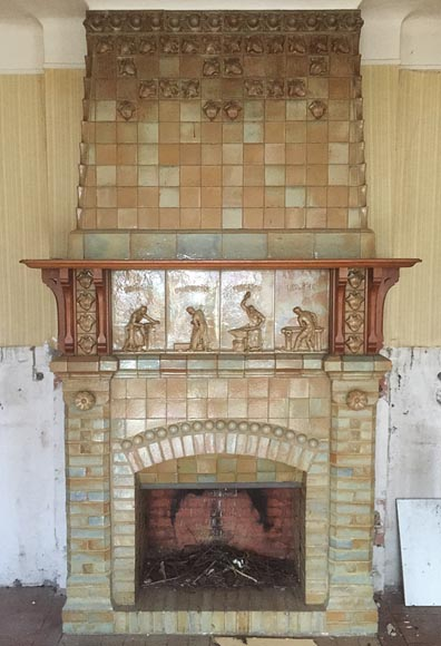 Beautiful antique Art Nouveau fireplace by Charles Gréber with workers' decorative frieze-0