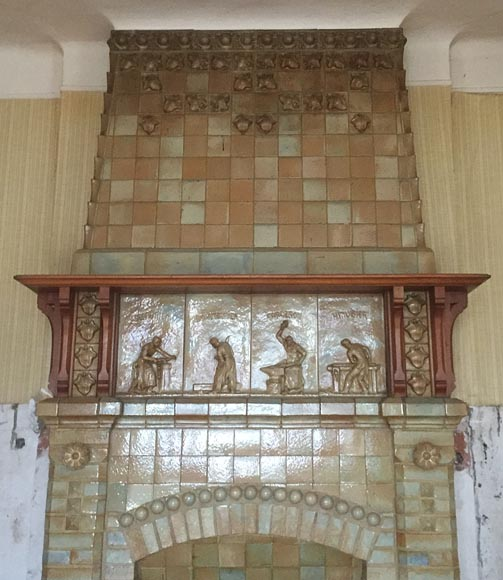 Beautiful antique Art Nouveau fireplace by Charles Gréber with workers' decorative frieze-1