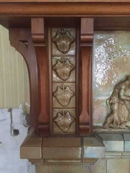 Beautiful antique Art Nouveau fireplace by Charles Gréber with workers' decorative frieze-7