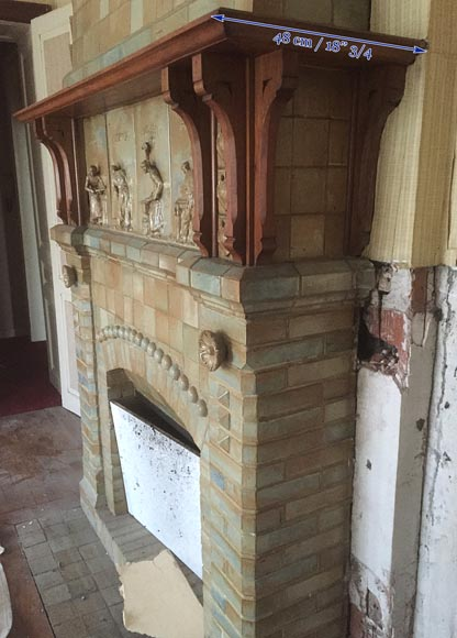 Beautiful antique Art Nouveau fireplace by Charles Gréber with workers' decorative frieze-11