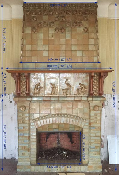 Beautiful antique Art Nouveau fireplace by Charles Gréber with workers' decorative frieze-12
