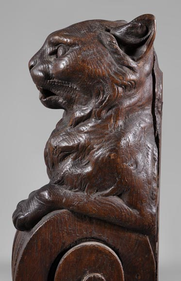 Rare oak wood stair banister with cat decor-3