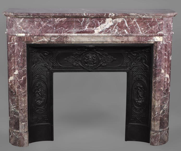 Beautiful antique Louis XVI style fireplace with round corners in violet Villefranche marble -0