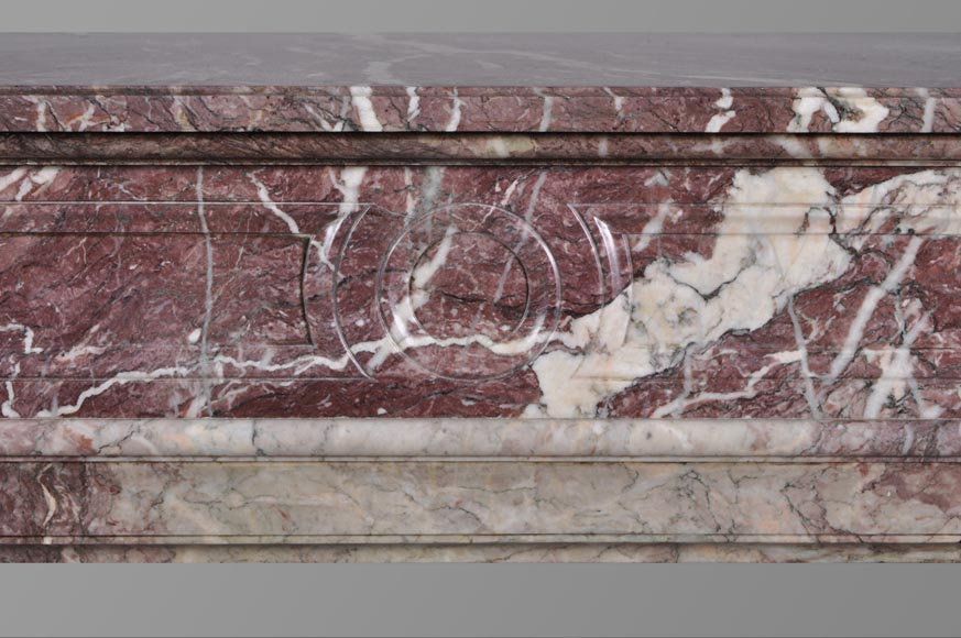 Beautiful antique Louis XVI style fireplace with round corners in violet Villefranche marble -1