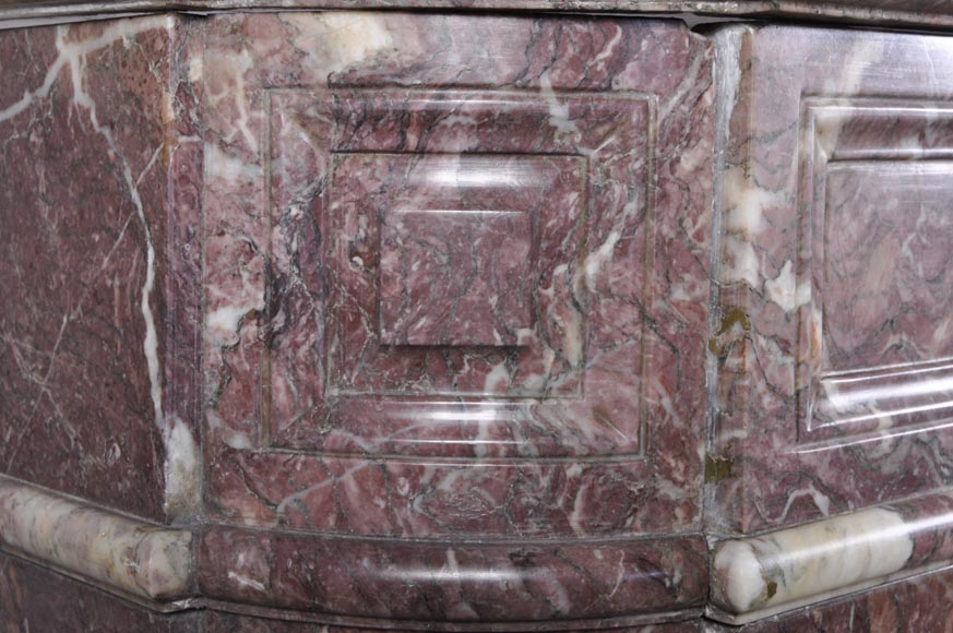 Beautiful antique Louis XVI style fireplace with round corners in violet Villefranche marble -3