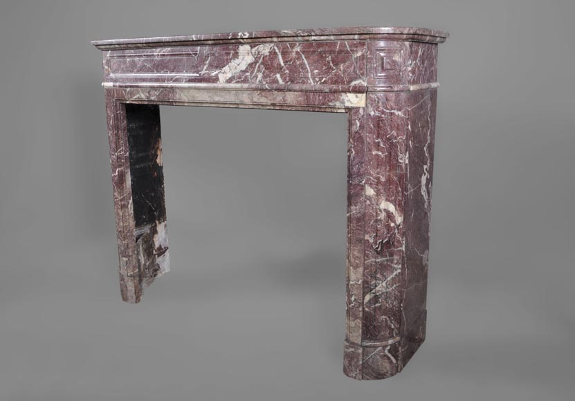 Beautiful antique Louis XVI style fireplace with round corners in violet Villefranche marble -5
