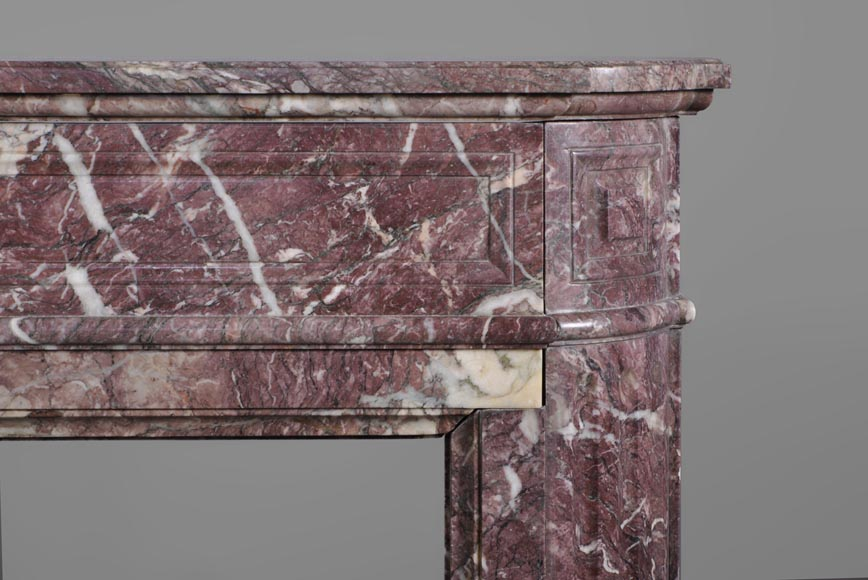 Beautiful antique Louis XVI style fireplace with round corners in violet Villefranche marble -6