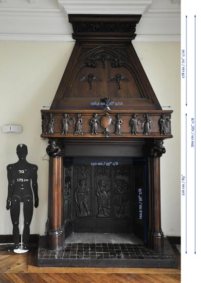 Monumental antique Neo-Gothic style fireplace with hood made out of carved walnut and courtly scenes-15