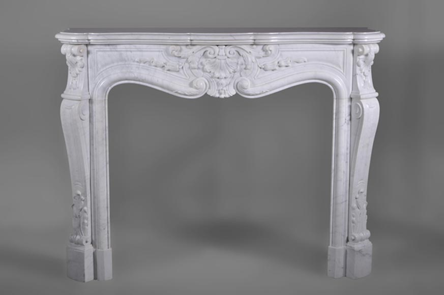 Beautiful antique fireplace in white Carrara marble in Louis XV style - Reference 2926