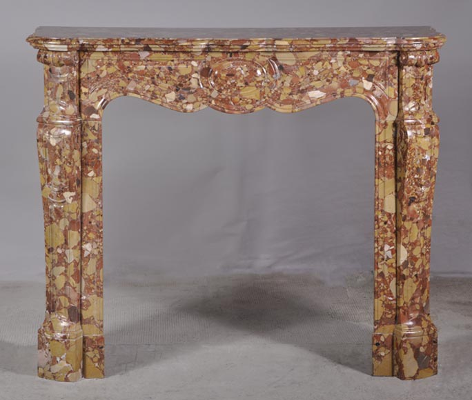 Pompadour style fireplace in Breche d'Alep marble-0