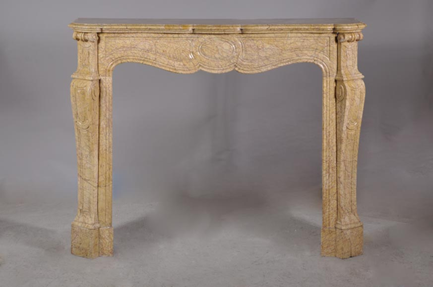 Antique Louis XV style fireplace, curved Pompadour model, in Breccia Nuvolata marble - Reference 2933