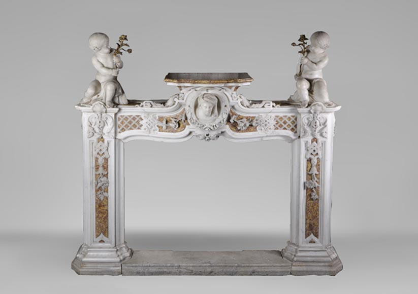 Exceptional antique late 18th century Statuary and Brocatelle marbles fireplace with putti - Reference 2938