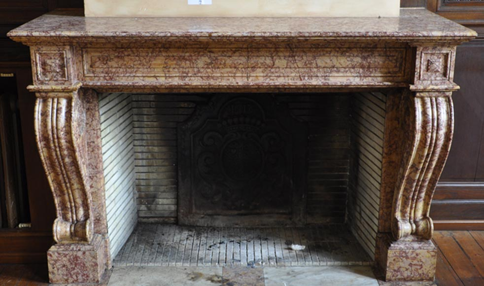 Beautiful antique fireplace in Louis Phillipe style carved out of Brocatelle marble-0