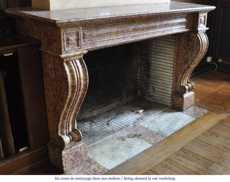 Beautiful antique fireplace in Louis Phillipe style carved out of Brocatelle marble-2