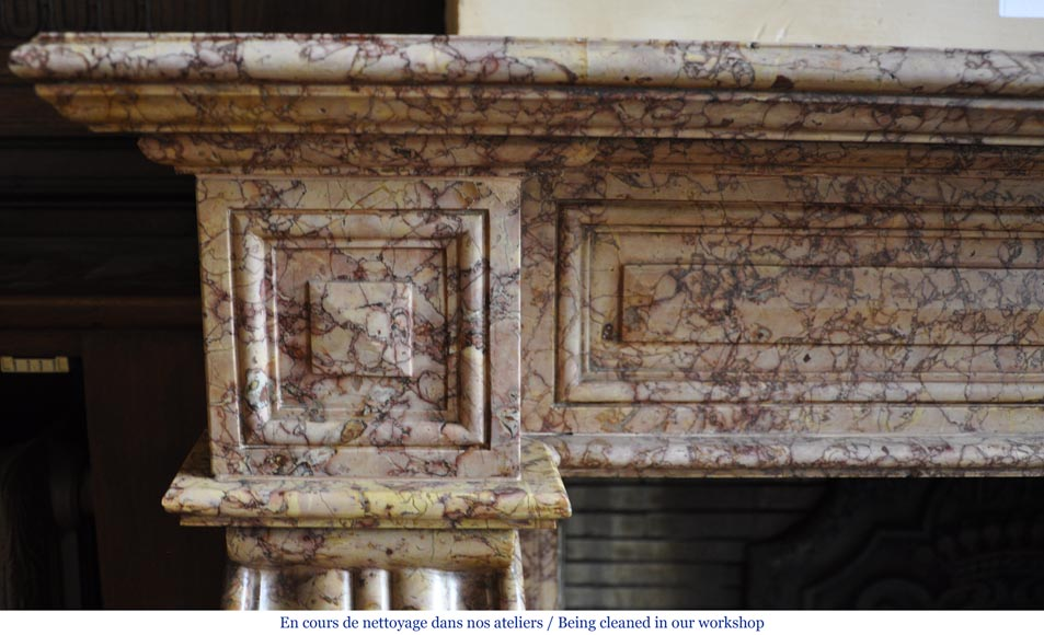 Beautiful antique fireplace in Louis Phillipe style carved out of Brocatelle marble-3