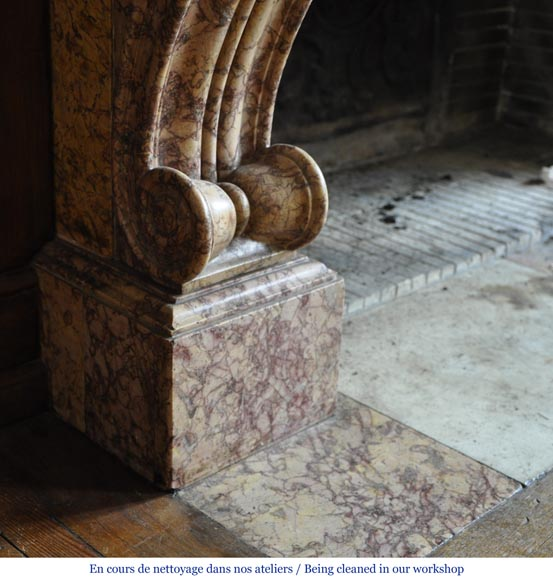 Beautiful antique fireplace in Louis Phillipe style carved out of Brocatelle marble-5