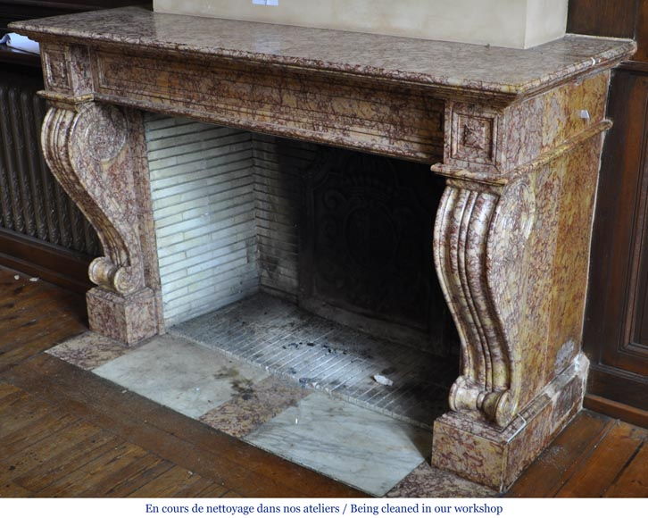 Beautiful antique fireplace in Louis Phillipe style carved out of Brocatelle marble-7