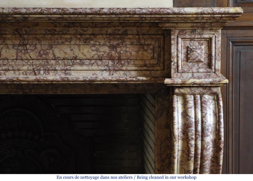 Beautiful antique fireplace in Louis Phillipe style carved out of Brocatelle marble-8