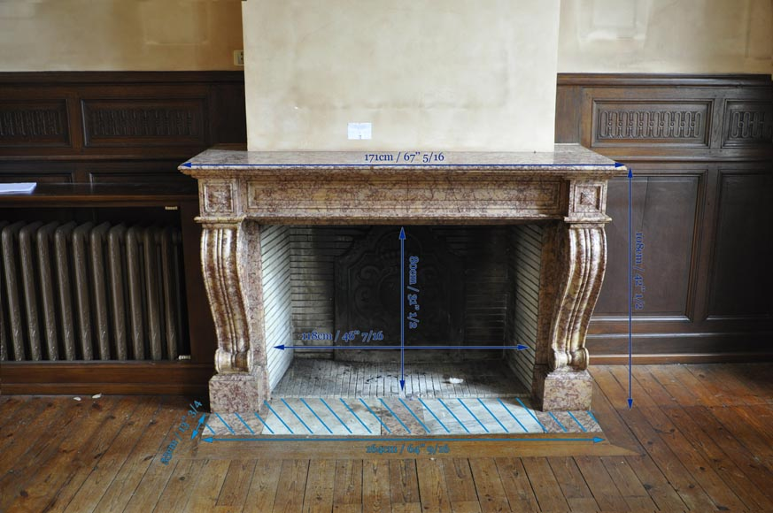 Beautiful antique fireplace in Louis Phillipe style carved out of Brocatelle marble-12