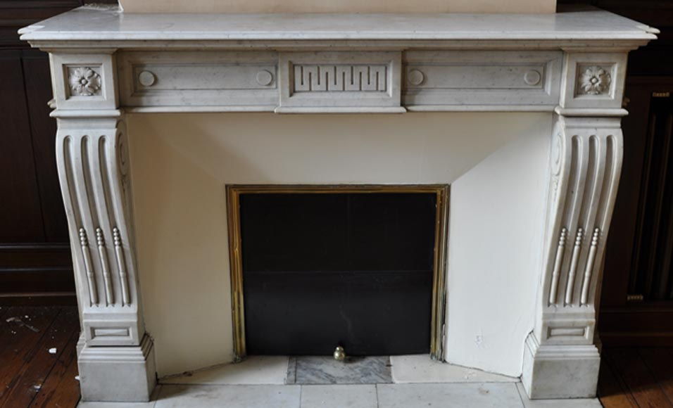 Beautiful Louis XVI style antique fireplace in white Carrara marble with a greek inspired decor  - Reference 2942