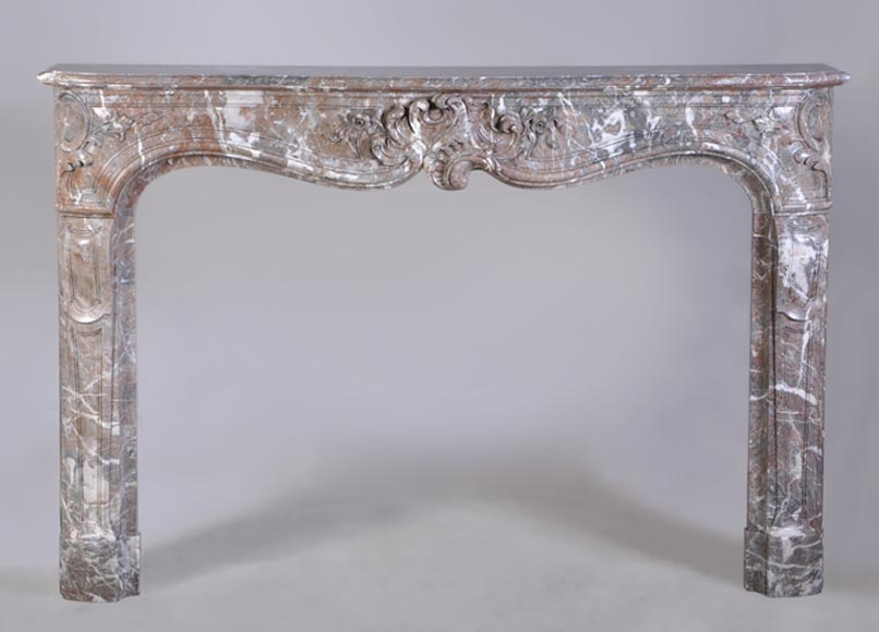 18th Century Louis XV mantel in Red Royal marble finely carved - Reference 2949