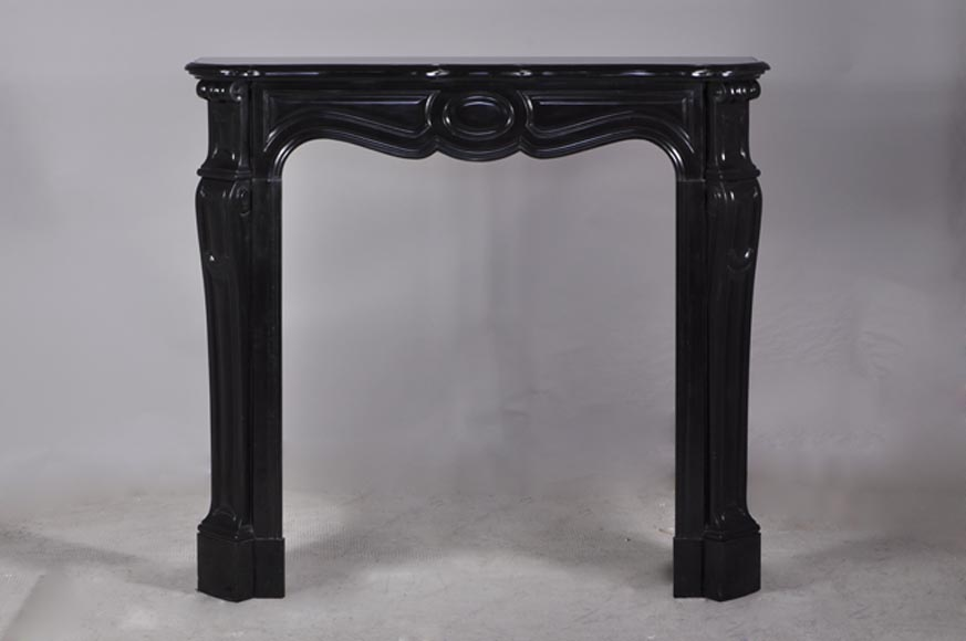 Pompadour mantel, Louis XV style in Fine Belgium Black marble - Reference 2950