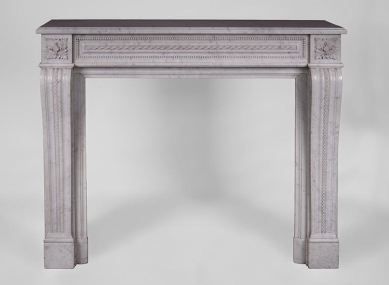 Beautiful antique Louis XVI style fireplace in Carrara marble, ribbon wrapped decor and pearls frieze - Reference 2955