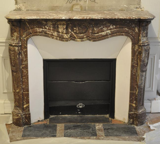 Antique Louis XV style fireplace, in Rouge du Nord marble, model Pompadour - Reference 2965