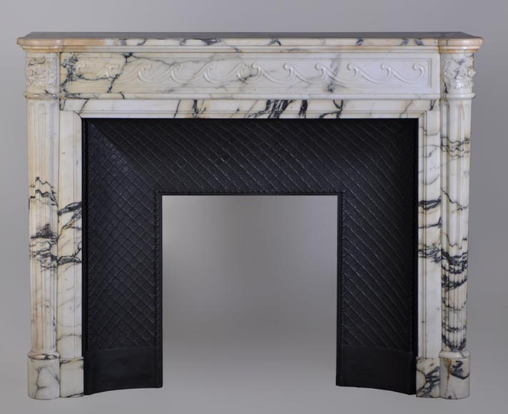 Antique Louis XVI style mantel with half columns in Panazeau marble - Reference 2974